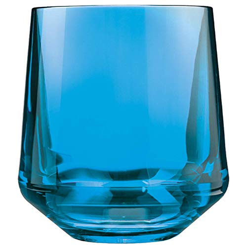 (Drinique VIN-SW-BLU-4 Stemless Unbreakable Tritan Wine Glasses, 12 oz (Set of 4), Blue)