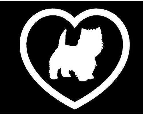 Heart dog puppy Sticker Car Window Vinyl Decal (West Highland Terrier)