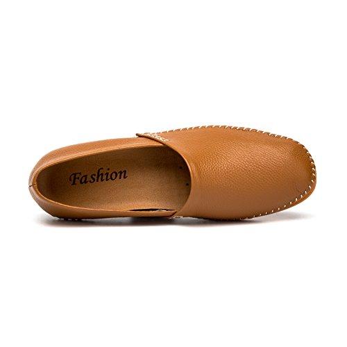 Slip Slippers Mocassini Casual NXY Flat Boat Fashion Pelle Marrone da Uomo On Driving in Shoes OO80nrx