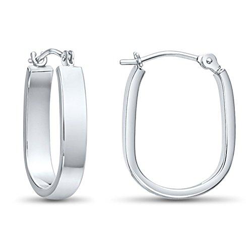 (14k White Gold Small Oval Hoop Earrings, 0.7