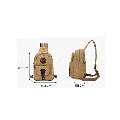 Koreanische Version des kleinen Rucksack Männer Leinwand Brust Tasche Messenger Umhängetasche ArmyGreen