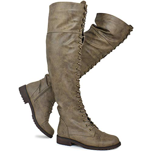 Premier Standard - Women's Lace Up Over Knee High Sexy Boots - Side Zipper Comfortable Walking Boots, TPS Boots-84Gul Taupe Pu Size 9 (Comfortable Walking Boots)