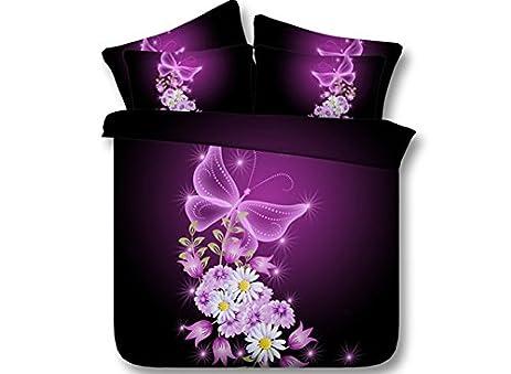Amazon luckey1 purple flower and butterfly 3d bedding sets with luckey1 purple flower and butterfly 3d bedding sets with white comforter sets king size cotton mightylinksfo