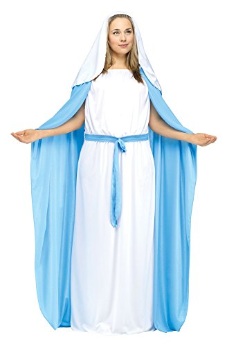 Fun World Costumes Women's Adult Mary Costume, White/Blue, Plus Size (Adult Plus Size Costume)