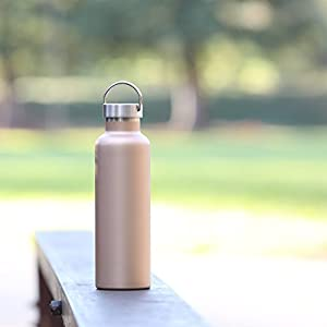 MIRA 25 oz Stainless Steel Vacuum Insulated Water Bottle | Thermos Keeps Your Drink Cold for 24 hours & Hot for 12 hours, Doesn't Sweat | Large Sports Flask with 2 Lids | 750 ml Champagne