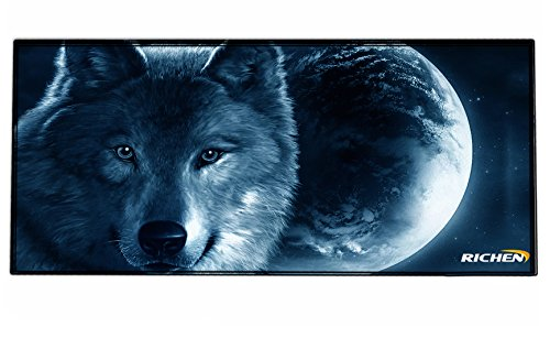RICHEN Large Gaming Mouse Pad Mat, Office Mouse Pad Extra Large Size, Washable Material Extended XXL Size Mouse Mat Pad, Non-slippery Rubber Base,35.4x 15.5 (Edge Stitched)(GMP-24)
