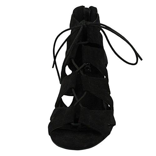 Black Up Sandals Spot Lace Wedge On Ladies x4gP6qwfxc