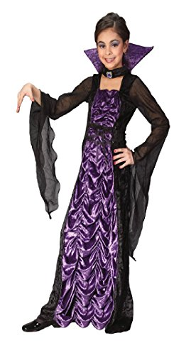 [Girls Countess Of Darkness Kids Child Fancy Dress Party Halloween Costume, S (4-6)] (Countess Of Darkness Child Halloween Costume)