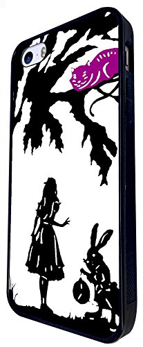 633 - Alice In Wonderland Cheshire Cat And Rabbit Design iphone SE - 2016 Coque Fashion Trend Case Coque Protection Cover plastique et métal - Noir
