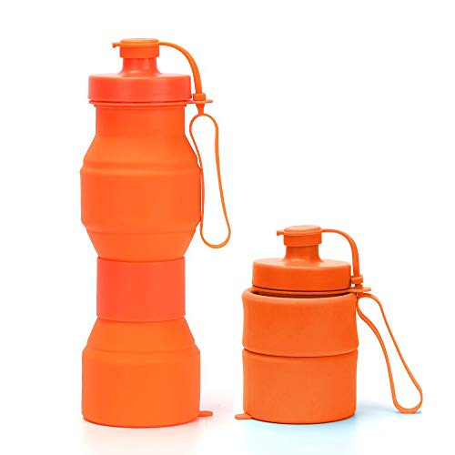 RSTime 800ML Collapsible Water Bottle,Food-Grade Silicone Foldable Sports Water Bottle Portable Leak Proof Travel Water Bottle for Travel,Sports,Outdoor and Gym (Orange) ()