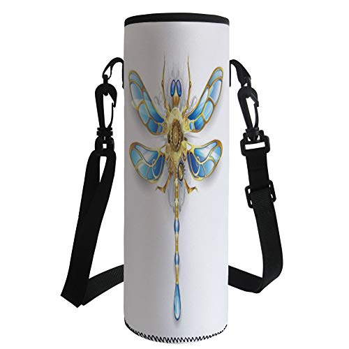 Water Bottle Sleeve Neoprene Bottle Cover,Dragonfly,Close Up View of Mechanical Dragonfly with Multifaceted Eyes and Gears Body Print,Gold Blue,Fit for Most of Water Bottles by iPrint
