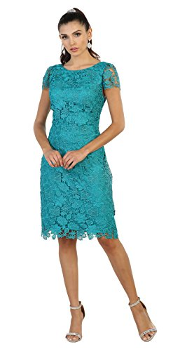 May Queen MQ1488 Short Mother of The Bride Lace Dress (L, Jade) (Jade Designer Mother Of The Bride Dresses)