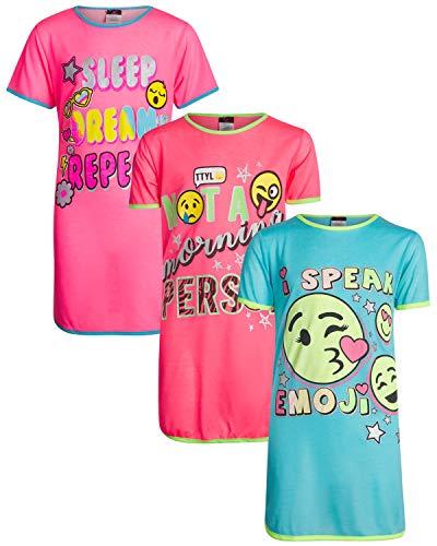 Angel Face Girls Short Sleeve Nightgowns Pajama - 3 Pack (Sleep Dream Repeat, 12)'