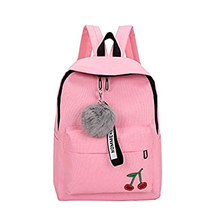 Fashion Fur Ball Girl Backpack for Women 2018 Teenage Schoolbag College Wind High School Student Nylon Printing Back Pack Bag Pink 3