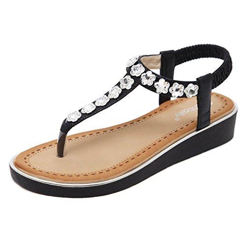 KUONUO Women's Flat Sandals Rhinestone Flower Elastic T-Strap Thong Beach Shoes Black 6 B(M) US