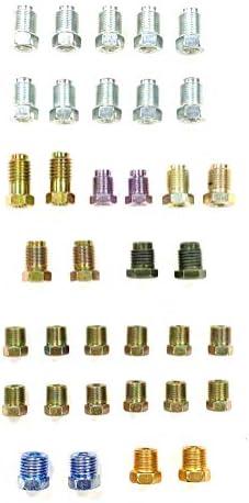 Assortiment de raccords de conduite de frein pour tubes 14 pouce évasement inversé et bulleévasement ISO métrique et SAE