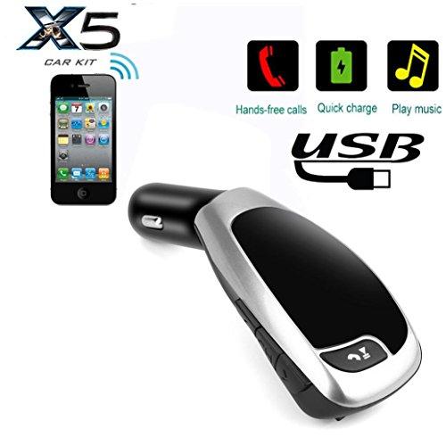 Glorrt BT-X5A Wireless Bluetooth LCD MP3 Player Car Kit SD MMC USB FM Transmitter Modul (Silver)