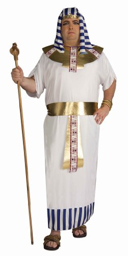 Ancient Egypt Costume And Makeup (Forum Novelties Men's Pharaoh Costume, Blue/White/Gold, Plus)