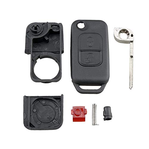 HoganeyVan Flip Plegable Coche Shell Remoto Llavero Caso 2 bot/ón para Mercedes Benz SLK E113 Aces W168 W202 W203