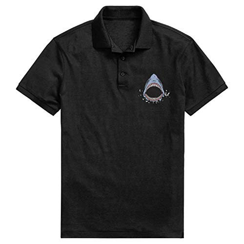 HTLYT Great White Shark Bite Casual Pique Polo T Shirt for Boy's Slim Fit Suit for Office Short-Sleeves Golf Polo tee 100% Cotton ()