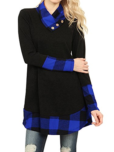 Favorite Long Sleeve Top (Ofenbuy Womens Tops Casual Cowl Neck Buffalo Plaid Long Sleeve Tunic Shirts (X-Large, Blue-1))