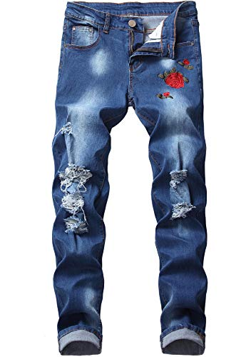 FREDD MARSHALL Men's Blue Skinny Ripped Distressed Rose Embroidered Stretch Slim Fit Fashion Denim Jeans