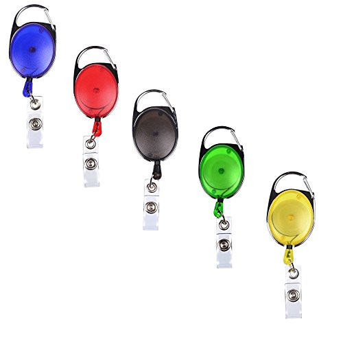 (yueton Pack of 5 Different Colors Translucent Retractable Carabiner Reels for Id Badge Holders, Key Cards and Id Cards,assorted Colors)