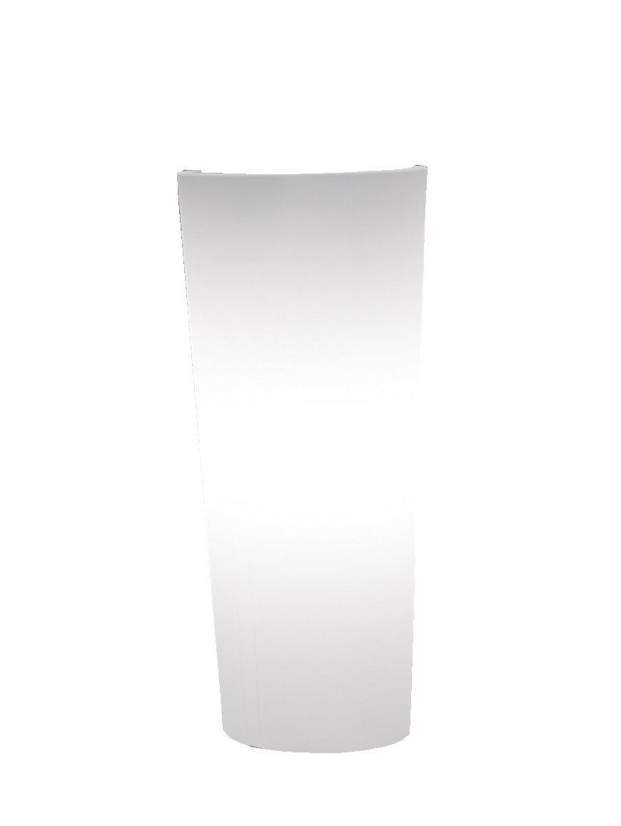Terra Vase Schio Cono mit Beleuchtung, Outdoor, Weiß, 70 cm