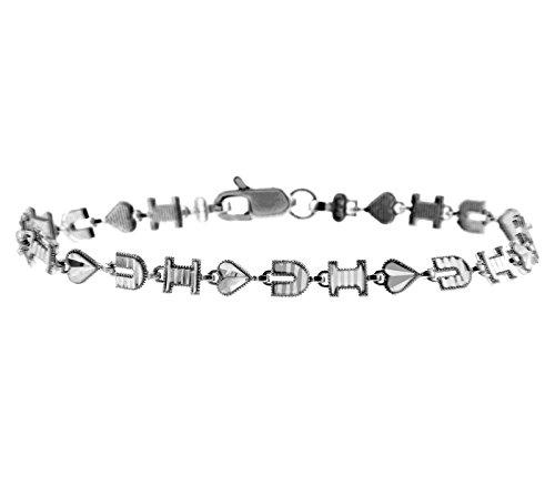 Petits Merveilles D'amour - 10 ct Or Blanc Bracelet - I Coeur U Bracelet