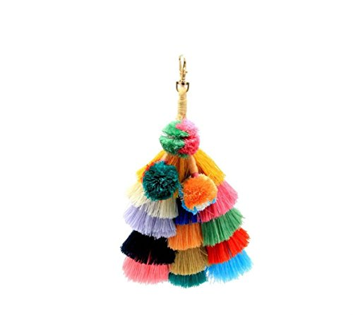 Man Wicker Island (Nodykka Women keychain Bohemian Colorful Pom Pom Tassel Straw Rattan Wicker Bag Tote Charm Car Accessories)