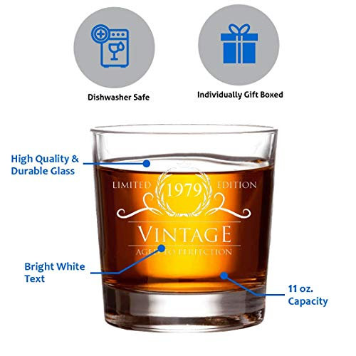 1979 Birthday Gifts for Women and Men Whiskey Glass - Funny Vintage Anniversary Gift Ideas for Him, Her, Dad, Mom, Husband or Wife. 11 oz Whisky Bourbon Scotch Glasses. Party Favors Decorations by Humor Us Home Goods (Image #1)