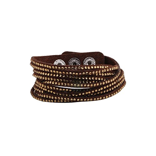 KUIYAI Wrap Leather Bracelet with Bling Bling Crystal Rhinestones and Snap Buttons (Brown)