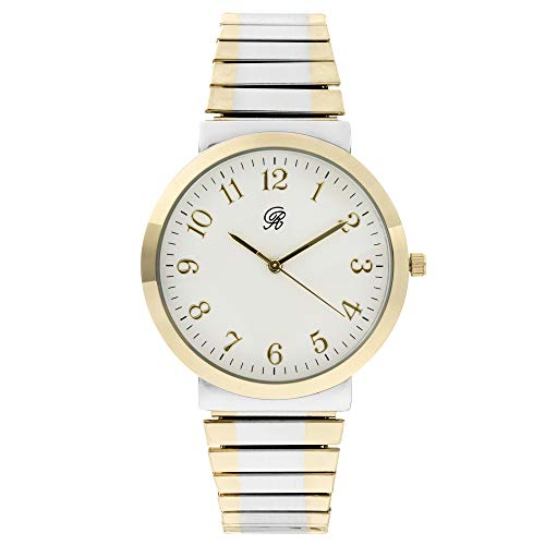 Unisex Two Tone Gold and Silver Stretch Band Classic, Easy Reader Watch with Clear Gold Arabic Numbers on Dial, Medium Size Face - 8197 Two Tone