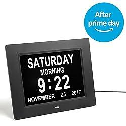 GeekDigg Desk Clock, Extra Large Impaired Vision Digital Calendar Day Clock with 3 Reminder & 5 Alarm Options (Black)