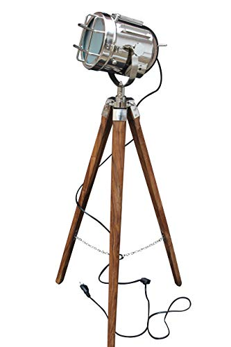 - Hollywood Style Studio Floor Lamp Decorative Tripod Spotlight Nickel Chrome Silver Polished and Brown Tripod