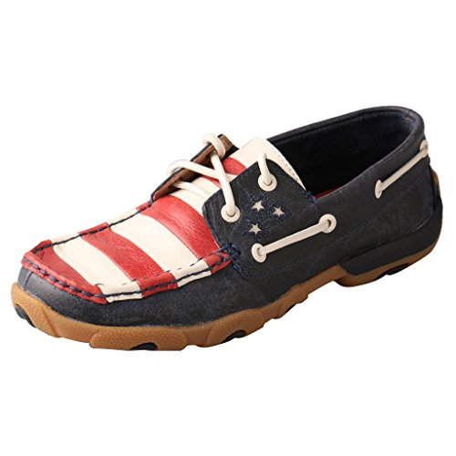 Twisted X Women's Vfw American Flag Driving Mocs Blue 8.5 M US - Ladies American Flag Cowboy Boots