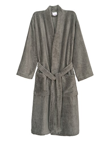 - TowelSelections Men's Robe, Fleece Cotton, Terry-Lined Water Absorbent Bathrobe Medium/Large Silver