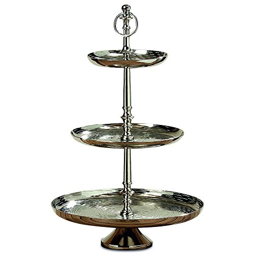 Whole House Worlds The Old World Grand Hotel Cake Stand, 3 Tiers, Polished Silver Aluminum, Luxurious Style, Pedestal Base, Over 1 1/2 Ft Tall, By (Silver Cake Basket)