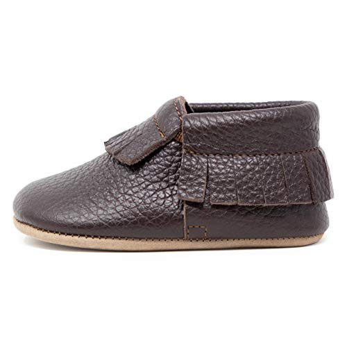 Ella Bonna Baby Moccasins, Cowhide, Full Grain Leather Sole, Handmade, for Baby Boys Girls Toddlers (US 7 M, Brown)