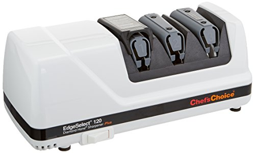 Chef'sChoice 120 Diamond Hone EdgeSelect Professional Electric Knife Sharpener for 20-Degree Edges Diamond Abrasives Precision Guides for Straight and Serrated Knives Made in USA, 3-Stage, (Hone Knife Sharpener)