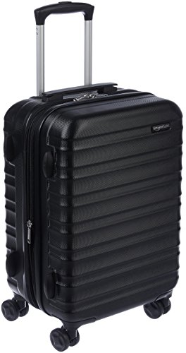 AmazonBasics Hardside Carry On Spinner Travel Luggage Suitcase - 20 Inch, Black (Best 4 Wheel Suitcase Review)