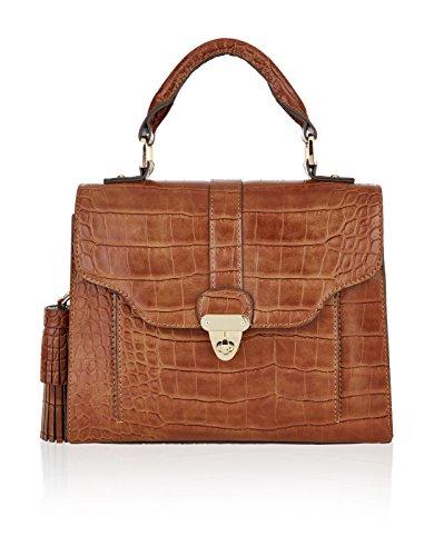 Accessorize Womens Elsie Croc Tassle Handheld Bag Size One Size Brown