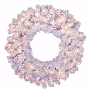 """Vickerman 24"""" Crystal White Spruce Wreath with 50 Clear lights"""