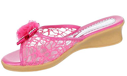 Kinder-Schuhe Sandalen | luftige Sommerschuhe mit Verzierung in Pink und in Größe 27 | Schuhcity24 | Pantoletten mit 3,5 cm Absatz