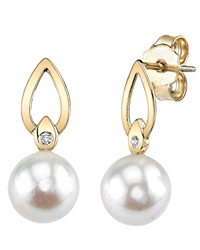THE PEARL SOURCE 14K Gold 8-8.5mm AAA Quality Round White Akoya Cultured Pearl & Diamond Lisa Earrings for Women ()