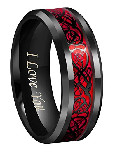 (CROWNAL Black Dragon Men Black Tungsten Carbide Ring Wedding Band 8mm Red Carbon Fiber Black Celtic Dragon Inlay Engraved I Love You Size 7 to 17 (8mm,10))