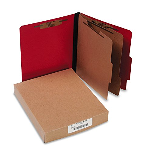 (ACCO 15669 ColorLife PRESSTEX Classification Folders, Letter, 6-Section, Exec Red, 10/Box)