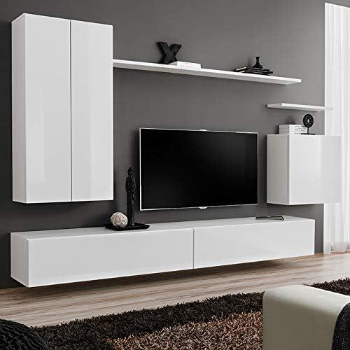 Noviomblible - Mueble de TV suspendido blanco lacado IRSINA 3: Amazon.es: Hogar
