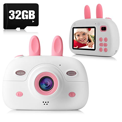 Kids Camera, 8.0MP 1080P Digital Video Camera Rechargeable Child Camcorder Shockproof Kids Toy Camera With 2.4″ IPS Screen, 32GB TF Card, OTG Function, Gift for 3-12 Years Old Girls Boys Party Outdo