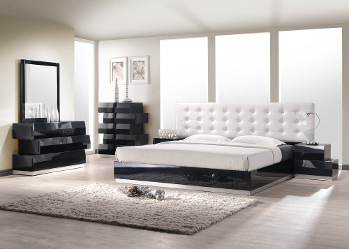 J&M Furniture Milan Black Lacquer With White Leatherette Headboard Bedroom Set- Queen Size ()
